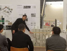 "Chao Wei MS '17 presents his ""alterable brick wall"" thesis at Syracuse Archcitecture, fall 2017."
