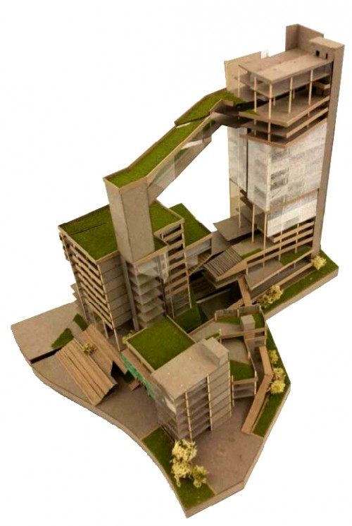Architecture students award winning design to model for Architecture student
