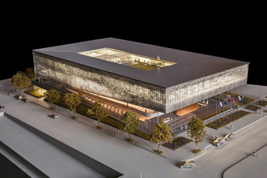 A rendering of a possible design for the National Veterans Resource Center by SHoP Architects