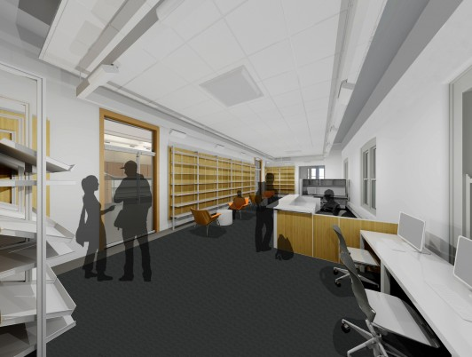 Rendering of the new King & King Architecture Library in Slocum Hall (King & King Architects)