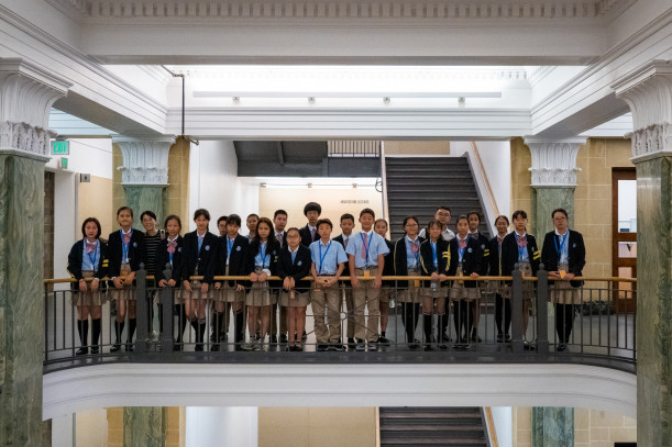 Shenzhen Mingde Experimental School middle school students in Slocum Hall