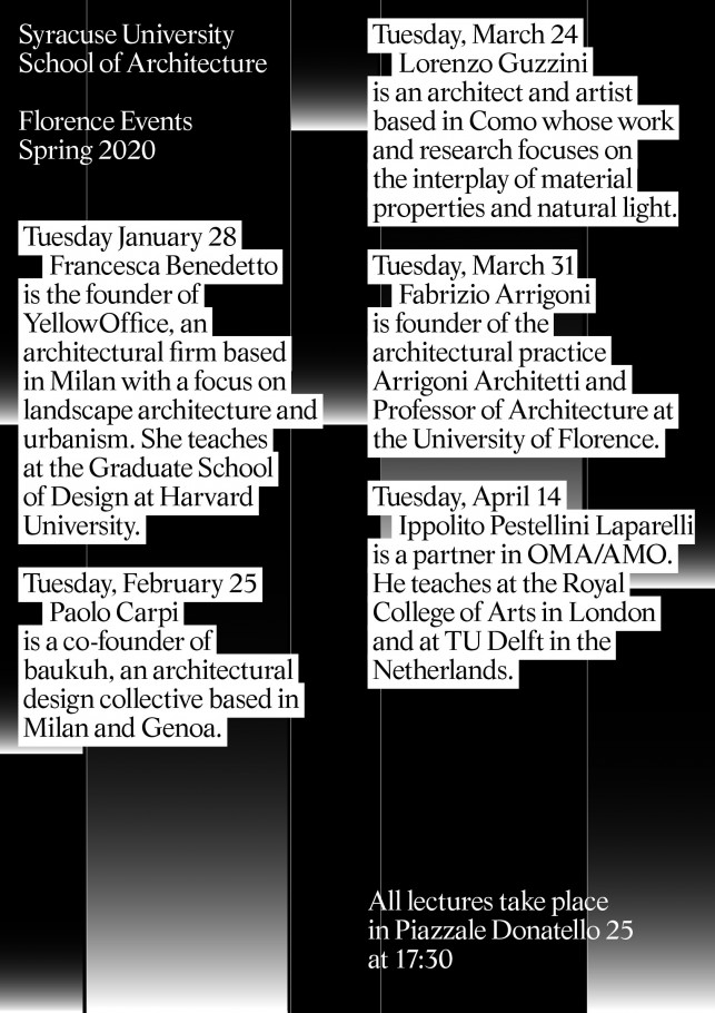Florence Events, Spring 2020